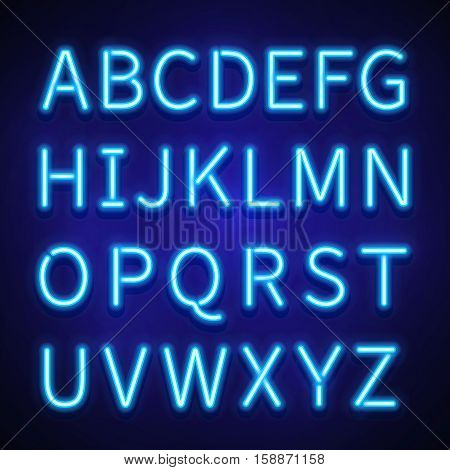 Glowing neon lights vector signs, typeset, letters, font. Alphabet neon style, illuminated retro alphabet illustration