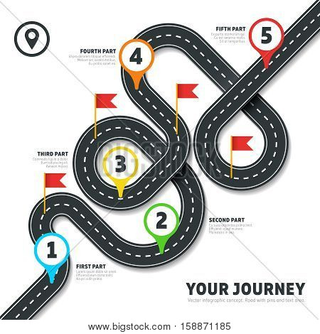 Navigation winding road vector way map infographic. Roadmap business info, plan road map for business illustration