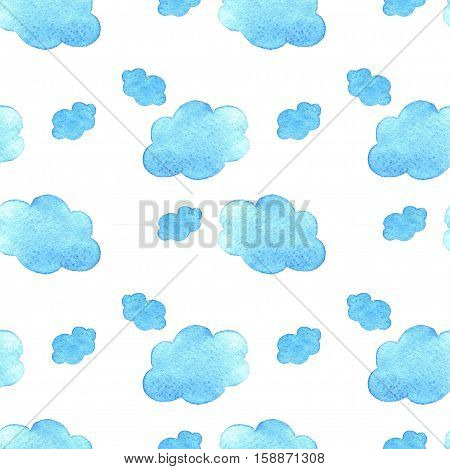 Blue Watercolor Clouds Background. Hand Painted  Cloud Isolated On White.