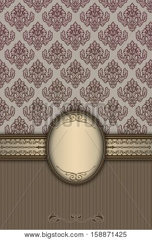 Vintage ornate background with decorative borderframe and old-fashioned floral patterns.