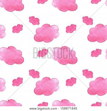 Pink Watercolor Clouds Background. Hand Painted Cloud Isolated On White