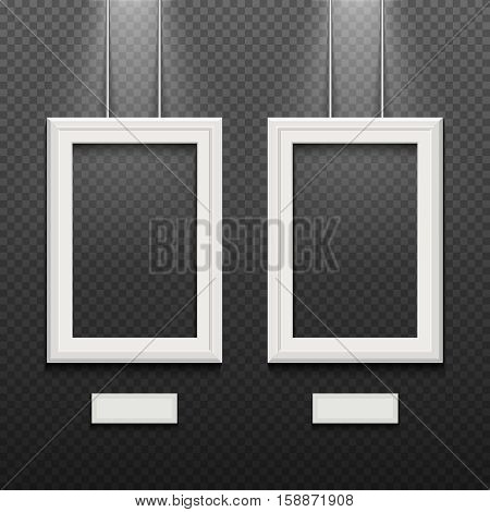 Empty white poster frames isolated on transparent checkered wall vector illustration. Frame hanging in gallery or museum, exhibition with rectangle frame