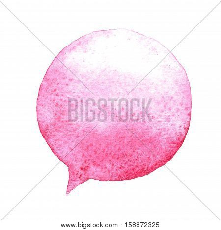 Pink Watercolor Speech Bubble Isolated On White Background. Hand Drawn Paint Stain