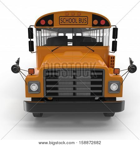 Front view Traditional yellow schoolbus isolated on white background. 3D illustration