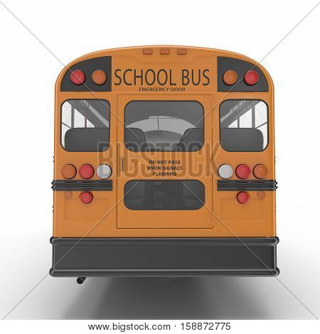 Traditional yellow schoolbus isolated on white background. 3D illustration