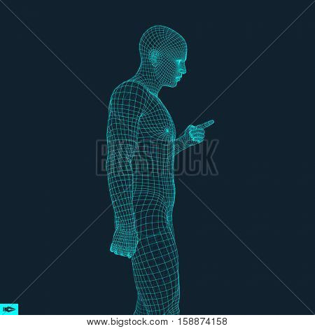 Man Pointing his Finger. 3D Model of Man. Geometric Design. Vector Illustration. 3d Polygonal Covering Skin. Human Polygon Body. Human Body Wire Model.