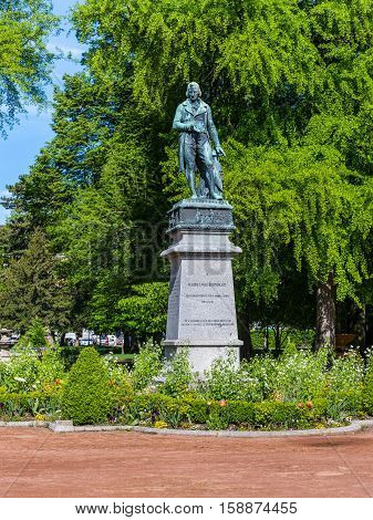 Annecy France - May 25 2016: statue of Claude Louis Berthollet a famous and eminent chemist of the Napoleonic era Annecy Savoie France.