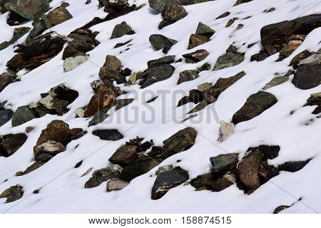 Desolate rocky landscape with snow surrounding rocks taken after a snow storm