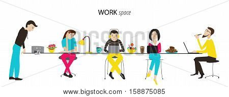 Work space, office or coworking, team work concept, flat style vector