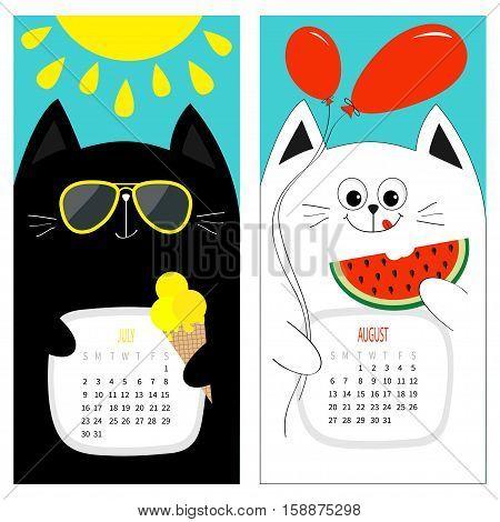 Cat calendar 2017. Cute funny cartoon white black character set. July August hello summer month. Ice cream yellow sun shining sunglasses. Red balloon watermelon. Flat design Blue background. Vector