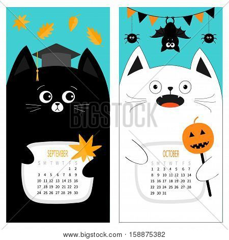 Cat calendar 2017. Cute funny cartoon character set. September October autumn month. Orange leaf Graduation hat Academic Cap. Bat spider flag pumpkin candy Happy Halloween Flat Blue background Vector