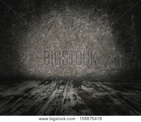 grunge metallic interior, urban background
