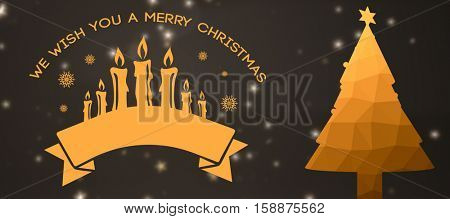 Graphic christmas message with candles against graphic fir tree with christmas star