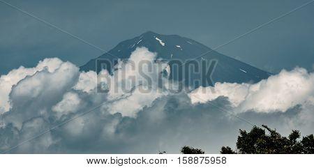View of Mt.Fuji over clouds, Shizuoka, Japan