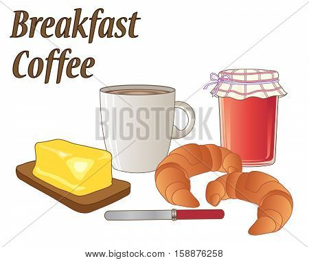 an illustration of a breakfast meal with a mug of coffee two croissant a jar of strawberry jam butter and a knife on a white background