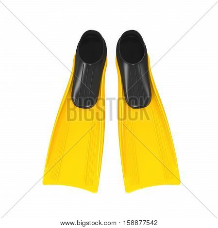 Yellow Flippers isolated on white background. 3D render