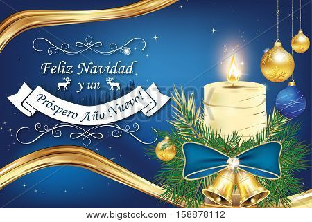 Spanish Greeting card for New Year (Les deseamos Feliz Navidad y Feliz Ano Nuevo) - We wish you Merry Christmas and Happy New Year. Print colors used. Size of a custom greeting card.