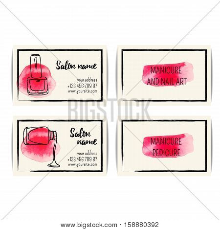 Nail polish business card. Vector set of manicure visit cards. Beauty salon or nail artist design. Isolated collection of fashion templates. Watercolor sketchy style. Hand drawn  illustration. EPS10.