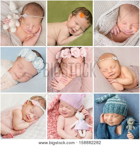 collage with cute smiling asleep newborn babies with toys, handbands