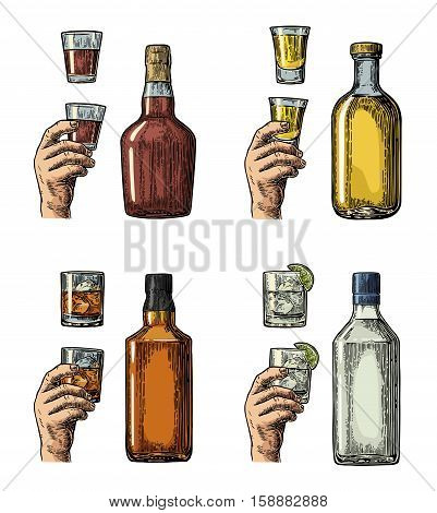 Set alcohol drinks with bottle glass and hand holding gin whiskey tequila. Vintage color vector engraving illustration for label poster invitation to party. Isolated on white background