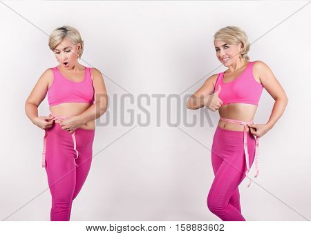 Weight loss. The girl measures the waist before and after weight loss.