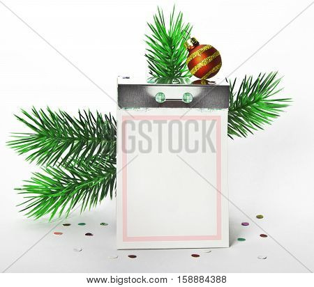 Tear-off calendar with new year decorations on white background