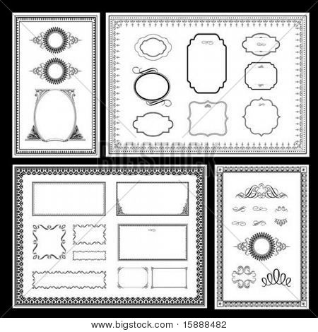 Set of detailed vector frames. Easy to edit. poster