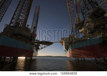 ESBJERG DENMARK - NOVEMBER 27 2016: Oil rig