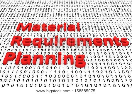 Material Requirements Planning in the form of binary code, 3D illustration poster