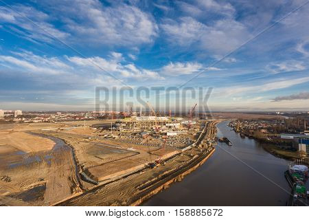 Kaliningrad Russia - November 25 2016: The construction of the new football stadium for the World Championship in 2018