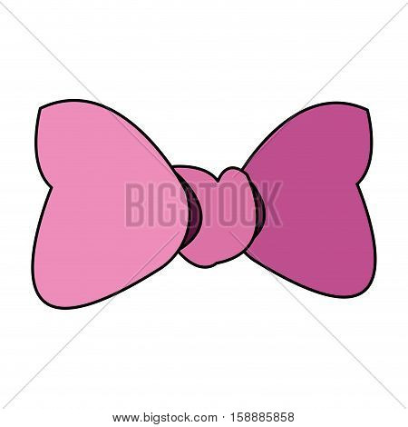 Pink bowtie icon. Female ribbon and decoration theme. Isolated design. Vector illustration