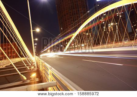 Arc Bridge Girder Highway Car Light Trails City Night Landscape