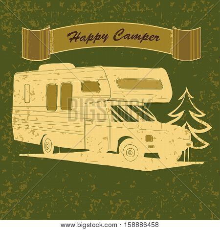 Vector illustration of Vintage Poster with Trailer, Vehicles Camper Vans Caravans typographic, silhouette trailer, caravan. Print for textile with text. Postage Stamp