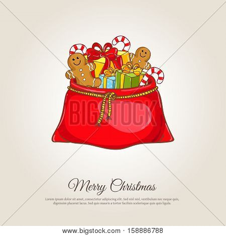 Christmas gifts banner. Large red Santa sack full of wrapped presents, gingerbread cookies, candy vector illustration. Merry Christmas and Happy New Year concept for greeting cart. Xmas shopping