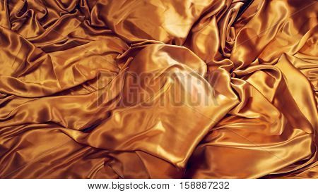 Gold Silk background. Golden, yellow color natural silk backdrop