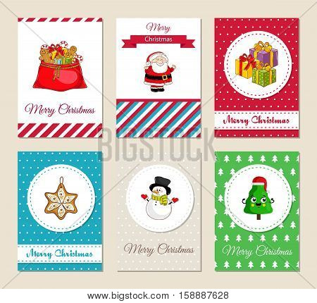 Christmas greeting cards and Xmas party invitations set. Colorful Merry Christmas and Happy New Year concepts with sack of gifts, presents, Santa, snowman, funny Christmas tree vector illustrations