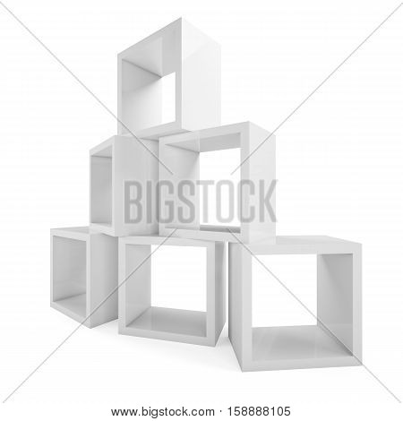 Modular shelving. Showcase store. Isolated on white. 3D rendering