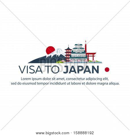 Visa To Japan. Travel To Japan. Document For Travel. Vector Flat Illustration.