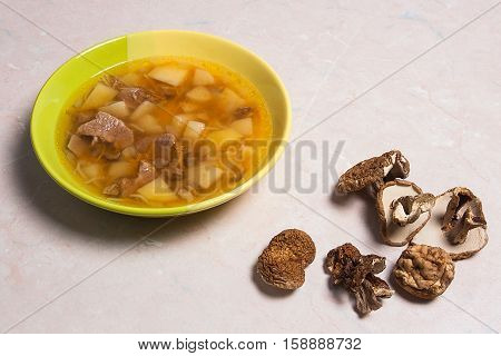 Composition With Mushroom Soup In Green Plate, Dried Wild Mushrooms, On A Light Stone Background.