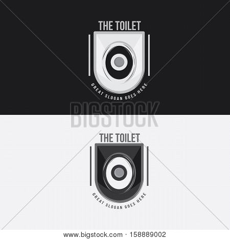 Toilet Logo template with black and white color. Flush the shit away.
