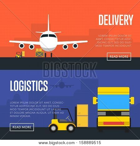 Delivery and logistics banners vector illustration. Forklift truck loading cargo jet airplane and freight truck in airport. Worldwide logistics, delivery transportation, air freight shipping company