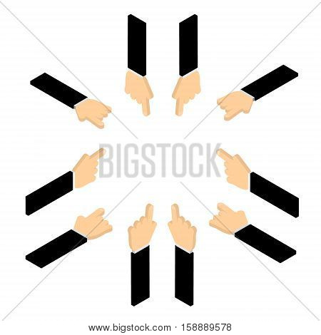 Set of hand pointing finger. Vector isometric