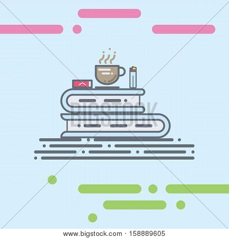 Stack of book flat vector illustration with coffe, cig and lighter on the top. enjoy relax reading book with cigarette