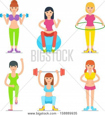 Women fitness classes cartoon icons. Young woman in sport clothing practice with dumbbells, hula hoop, fit ball vector illustration isolated on white background. Healthy lifestyle and moving activity