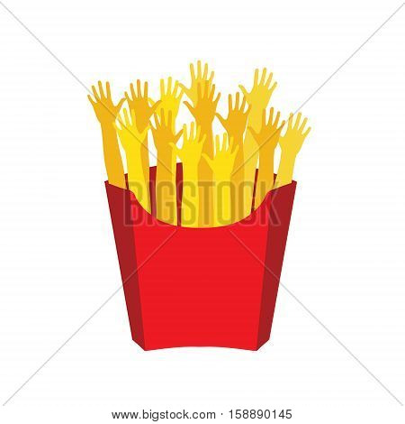 French fries. Human hands in the form of fried potatoes. Vector illustration flat design. French fries in paper box isolated flat design. French fries fast food in a red package.