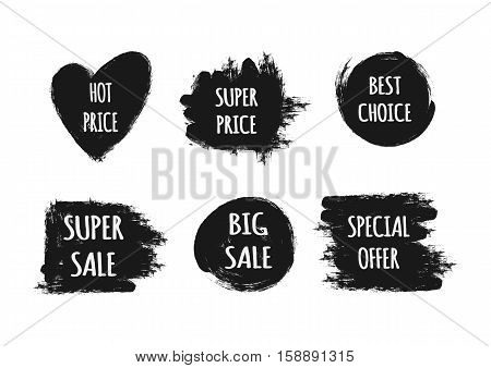 A set of stickers with the text Hot Price Best Choice Special offer Super Big Sale. Ragged brush strokes. Isolated elements. Black white.