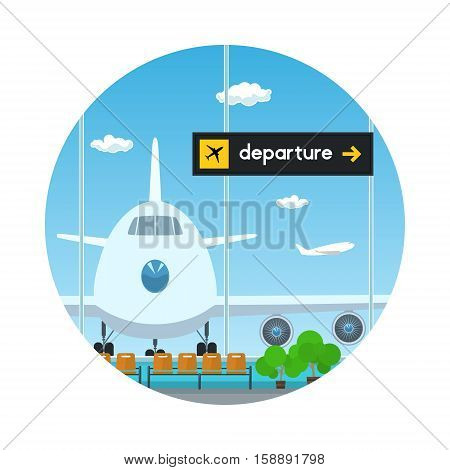 Icon Airport ,View on Airplane through the Window from a Waiting Room, Scoreboard Departure at Airport ,Travel and Tourism Concept ,Flat Design ,Vector Illustration