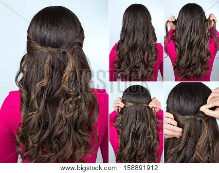 simple knotted hairstyle on curly hair tutorial. Hairstyle for long hair. Hairstyle tutorial step by step. Hairstyle for party