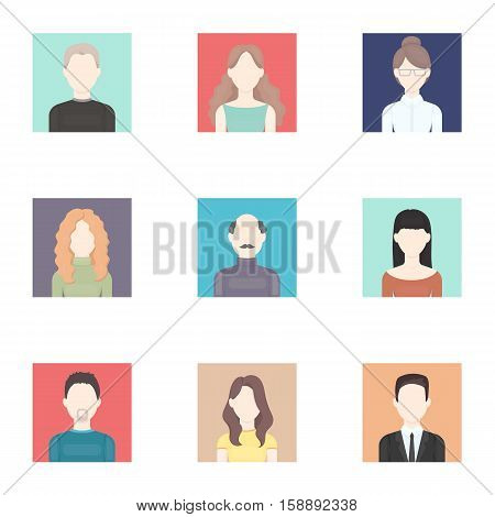 Avatar set icons in cartoon style. Big collection of avatar vector symbol stock