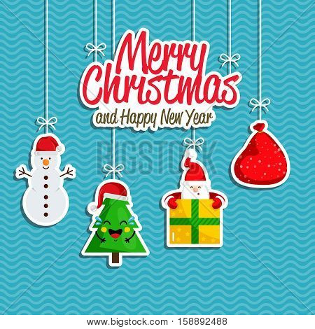 Christmas holiday decoration. Santa with present, sack of gifts, Christmas tree, snowman hanging on ropes vector. Merry Christmas and Happy New Year concept for greeting card, Xmas party invitation